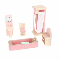 Wooden Furniture Dolls House Family Miniature 6 Room Set Doll Toy Game Kids Gift Bathroom