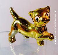 "Vintage Gold Cat Porcelain Kitten Japan Figurine 3.5"" Rare"