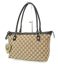 Authentic GUCCI Brown GG Canvas and Leather Shoulder Tote Bag #37191