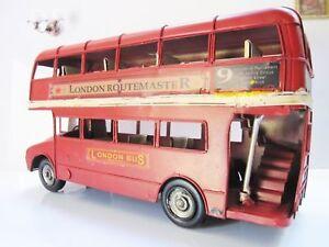 HOME DECOR DISPLAY ANTIQUE VINTAGE TIN METAL CAR MODEL HANDMADE LONDON BUS GIFT