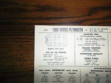 1966 Dodge & Plymouth 318 CI V8 2BBL w/o CAP SUN Tune Up Chart Great Shape!