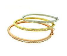 Tri-Gold 3 Bangle Set Pink, Yellow, White Gold Plated 925