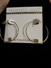 Argento vivo Sterling silver 18 KT gold plated hoop earrings