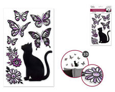 Foil Shimmer Embossed CAT butterflies flowers 8 wall stickers 3-D decals kitten