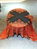 "Ex-large Antique Kashmir Paisley Shawl W/ Coral Intricacies 19th C (68"" X 70"")"