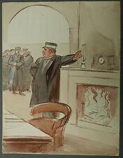 Beau Dessin Illustration Aquarelle Chef de Gare Froid OSWALD HEIDBRINCK 1900