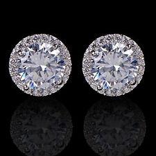 UP New Sanwood White Gold GP Crystal Diamond Zircon Earrings Ear Stud Jewelry