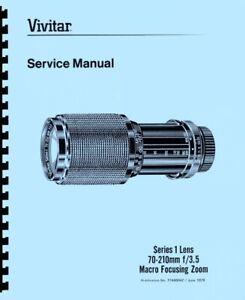 Vivitar 70-210mm F3.5 Series I Macro Focusing Zoom Lens Repair Manual (1979)