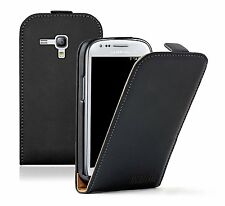 Black PU Leather Vertical Case cover for Galaxy S 3 mini GT-i8190 +2 PROTECTORS