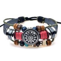 Fashion Men PU Leather Bracelet Handmade Sun Braided Punk Viking Gift Jewelry Q