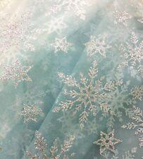 Snowflake Frozen Disney Elsa Crystal Glitter Organza Voile Dress Making Fabric