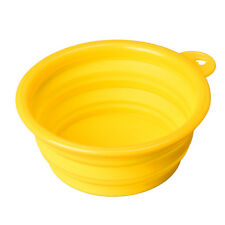 HOT Yellow Puppy Dog Cat Collapsible Feeding Bowl Water Food Feeder Travel Dish