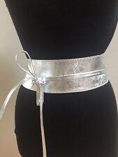 Nappa Leder Taillengürtel Hüftgürtel Wickelgürtel butterweich metallic silber
