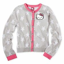 Hello Kitty Star-Sleeve Button-Front Cardigan - Size Large (10/12) NWT Girls