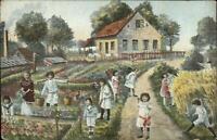 Multiple Baby Kids Fertility Fantasy GARDEN SCENE c1905 Postcard