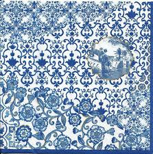 Lot de 4 Serviettes en papier Décor Indigo Decoupage Collage Decopatch