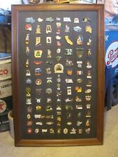 HUGE Collection of Lions Club Huge Lot Rare & Vintage Pins In Wood Frame Display