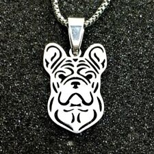 Stainless Steel French Bulldog Frenchie Bull Pet Dog Charm Pendant Necklace