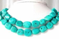 Fab 2 Natural Turquoise Smooth Nugget Beads 009352