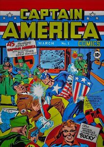"""Reproduction """"Captain America - Comic"""" Poster, Home Wall Art"""