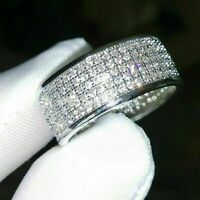Luxury White Sapphire Stackable Eternity Ring 925 Silver Wedding Jewelry Sz5-12