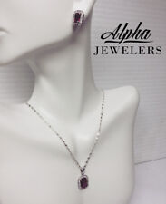 Diamond* Necklace and Earring Set Alpha Jewelers: Sterling Silver Ruby* and
