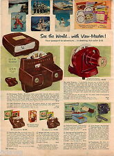 1957 ADVERT 2 Page Viewmaster Junior Projector List Of Packets