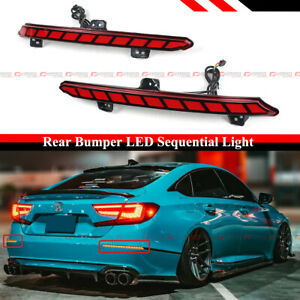 For 2018-2021 Accord Red Lens Rear Bumper Reflector Square LED Sequential Light