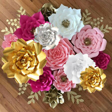 Paper Flowers 3D Handcrafted DIY Leaves Wedding Party Decor Craft Wall Backdrop