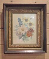 Vintage Print of Flowers  With Vintage Wood Frame