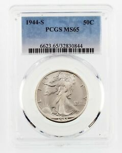 1944-S 50C Walking Liberty Half Dollar Graded by PCGS as MS65