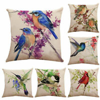 Cover Linen Home Waist Case Cushion Decor Cotton Bird Pillow Tree Cover