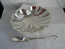 VINTAGE SILVER PLATE  EPNS  LARGE SHELL SHAPE BUTTER DISH RESTING ON 3 BALL FEET