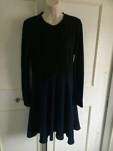 WHISTLES - blue & black jersey dress - Size 10