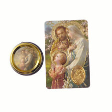 Catholic Holy family car plaque gift magnet adhesive gold + prayer card