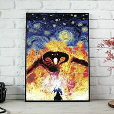 Balrog vs Gandalf Lord of The Rings Starry Night Poster - Premium Photo Paper