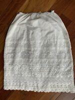 Vintage Eyelet Slip Skirt White Cotton Prairie Boho Romantic Cottagecore Layer S