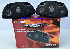 Pair Surface Mount 3-Way Car Audio Wedge Style Box Stereo Speakers ABS Plastic