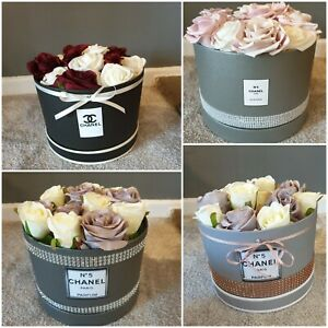 Small Artificial roses hatbox decor Gifts, Weddings, Table, grey made to order