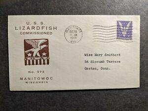 USS LIZARDFISH SS-373 Naval Cover 1944 Launch Cachet MANITOWOC, WISCONSIN