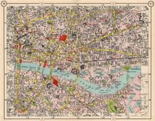 LONDON CITY/EAST END. Southwark Shoreditch Whitechapel Bermondsey 1953 old map