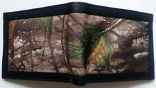 Mens Hunter RFID Blocking CAMO Tree Canvas REAL LEATHER Black Bifold Slim Wallet