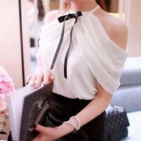Elegant Womens Off Shoulder Halter Neck Bowknot Slim Chiffon Blouse Top Shirt P0