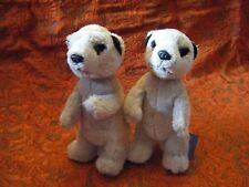 """2 X CHESTER ZOO MEERKAT  SOFT TOYS   6""""  APPROX VGC"""