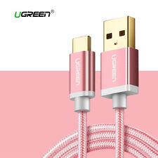 Cable USB 2.0 a USB-C carga rapida UGREEN 2.4A nylon rosa USB tipo C 1M 2M 3M