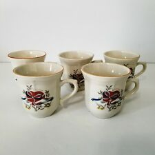 5 Gibson Apple Jack Coffee Cups Geese Pattern w/ Heart and Ribbons