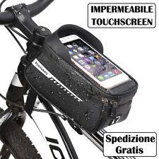 Borsa Telaio Bici Supporto Porta Cellulare con Touch Screen per Bicicletta