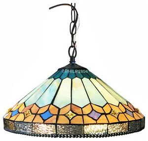 "Tiffany Style Mission Hanging Ceiling Pendant Gold Blue Stained Glass 18"" Wide"