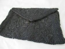 Antique black flapper glass beaded belt clutch bag handbag Belgium 1920's