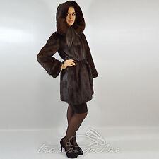 Saga Mink fur coat visón abrigo chaqueta abrigo vison capucha visone норка 36 s